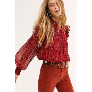 NEW Free People Roma Blouse in Red Floral Small